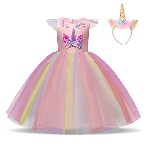 rn Kleid Blume Applique Party Cosplay Halloween Phantasie Kostüm Headwear Größe (130) 5-6 Jahre Rosa ()