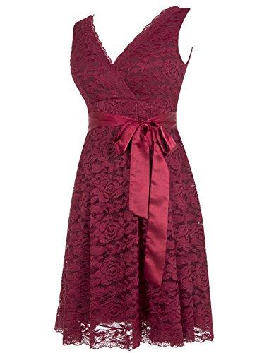 Dresstells, Robe de cérémonie Robe de soirée de cocktail en dentelle col en V sans manches longueur genou Blush