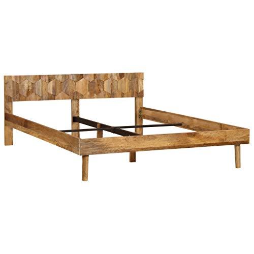 Festnight- Bettrahmen | Retro Bettgestell | Massivholzbett | Holz Doppelbett | Rustikal Holzbetten | Massives Mangoholz 140/160/180 x 200 cm