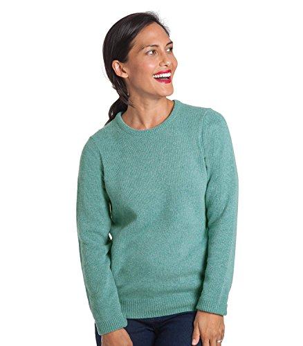 WoolOvers Pullover mit Rundhalsausschnitt aus Lammwolle für Damen Seafoam Green, M (Green Wool Pullover)