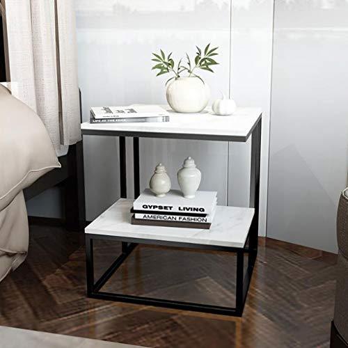LYN Beistelltische, Schmiedeeisen Marmor 2 Tier kleinen quadratischen Beistelltisch, einfache Wohnzimmer Schlafzimmer Lesetisch, 45 * 45 * 50cm (Color : A) -