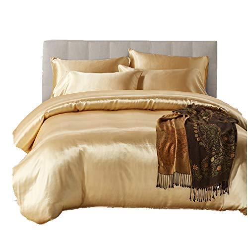 3 Stück Luxuriös Bettbezüge Feuchtigkeitsfest Europäischer Stil Nachgemachte Seide Bettwäsche mit 2 Kissen Frühling Sommer Herbst Winter Einfarbig (Golden, 135 x 200 cm) -