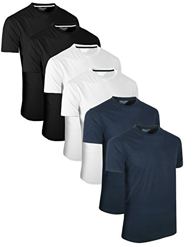 Blau Schwarz Überprüfen (Full Time Sports 6 Pack Navy Weiß Schwarz Rundhals Tech T-Shirts (4) X-Large)