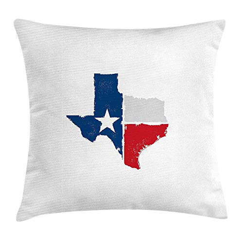 Texas Throw Pillow Cushion Cover, Distressed State Outlines Fort Worth Austin Borders Flag Design The Lone Star, Decorative Square Accent Pillow Case, 18 X 18 inches, Dark Blue Red Grey