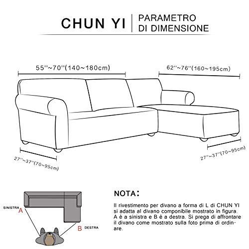 CHUN YI Jacquard Copridivano Componibile a Forma di L Pezzi in Tessuto Poliestere Elasticizzato Divano Angolare (Chaise Destra, Avorio)