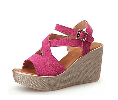 DANDANJIE Frauen Sandalen Sommer Schuhe Keilabsatz Peep Toe Schnalle für Freizeitkleidung Schwarz Rosa Rot 32-43 (Color : Rosa, Größe : 39)