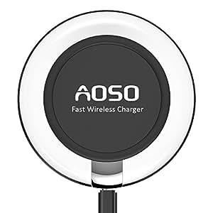 Rapida Wireless Caricabatteria QI, AOSO 10W Fast Wireless Charger Universale Per Samsung Galaxy S7 / S7 Edge / S6 Edge / Note 7 / Note 5 e Tutti i Dispositivi Qi-Rapida-Enabled, Include un Cavo 1,2M