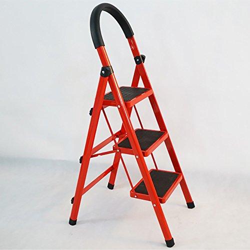 Klappstufen WSSF- Faltende 3 Schritt-Leiter-Kohlenstoffstahl-Fischgräten-Leiter-Aufstiegs-Hohe Rutschfeste Pedal-Schemel-Multifunktionshauptküche-Garten-Werkzeug DIY Stepladder -100kg Kapazität