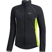 GORE Wear Giacca antivento da ciclismo per donna, Maniche staccabili, C3 Women GORE WINDSTOPPER Phantom Zip-Off Jacket, 42, Nero/Giallo neon, 100191
