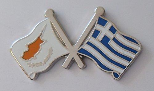 1000 Flags Griechenland Flagge & Zypern griechischen Flagge Freundschaft Höflichkeit Pin Badge