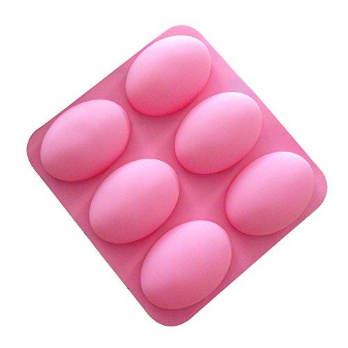 Lumanuby 1 Stück Seifenformen aus Silikon 6 Oval Kuchenform für Kuchen/Seife 22.5 * 20.6 * 2.7cm Zubehör für Backen Liebhaber DIY oder Bäckerei Zufällige Farbe, Silikon Formen Serie