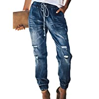 Sidefeel Women Distressed Denim Joggers Elastic Drawstring Waist Jeans Pants Medium Blue