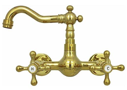 Retro Zweigriff Wandarmatur Küche Waschbecken Waschtisch Mischbatterie Nostalgie Wand Wasserhahn Hochdruck Badarmatur Gold Nostalgie