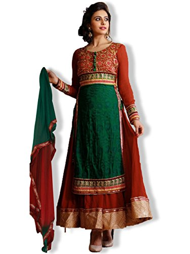 Ethnicking Women's Viscose Georgette Semi Stitched Salwar Suit (VHPH6-1078_Multi _Free Size)