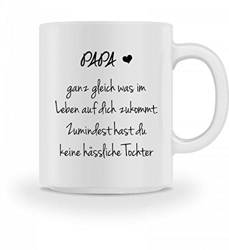 Shirtee Hochwertige Tasse - Lustiges Geschenk Papa Vater Geburtstag Vatertag Zumindest hast du keine hässliche Tochter