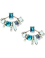 Happiness Boutique Damas Pendientes Ear Jackets en Turquesa | Pendientes de Botón con Diamantes de Imitación en Azul Libres de Níquel