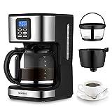 AEVOBAS Cafetera de Filtro, Cafetera de Goteo Programable para 12 Tazas, Máquina de café...