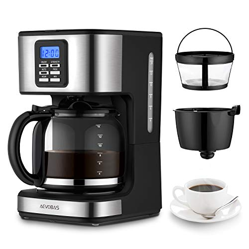 AEVOBAS Cafetera de Filtro, Cafetera de Goteo Programable para 12 Tazas, Máquina de café Filtro Permanente, Sistema anti-gotas, cierre automático (cafetera de filtro)