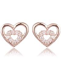 FASHION PLAZA Damen Ohrring durchsichtig Kristall Herz verschraubt Ohrstecker E319