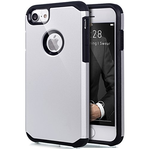 Cover iPhone 7,Custodia iPhone 7,ikasus® [Heavy Duty Serie] Hybrid Outdoor Dual Layer Armor Custodia custody sleeve Case Cover per iPhone 7 Custodia Cover [Shock-Absorption] Ultra Sottile Silicone Har Bianca
