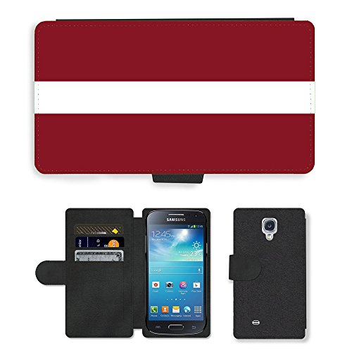 GoGoMobile PU LEDER LEATHER FLIP CASE COVER HÜLLE ETUI TASCHE SCHALE // V00001108 letonia bandera Nationalen Country Flag // Samsung Galaxy S4 Mini i9190 (Bandera Leder)