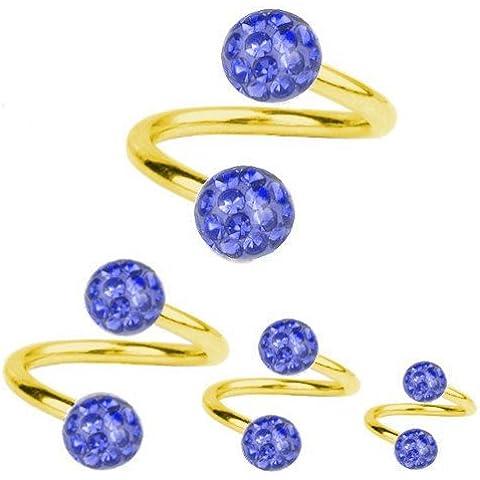Espiral de la torcedura de perforación de titanio bañado en oro de 1, 2, diseño de bola de cristal azul