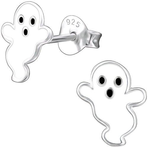 JAYARE Kinder-Ohrstecker Gespenst Geist 925 Sterling Silber Emaille weiß 9 x 7 mm Mädchen-Ohrringe Halloween