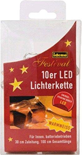 Idena 8582065 LED Lichterkette 10er für Innen, batteriebetrieben, Plastik, warmweiß, 100 x 5 x 2 cm