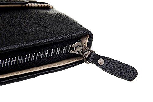 Männer Lederhandgriff Quadrat Schultertasche Aktenkoffer Handtasche Messenger Bag Computer Business Casual Bag Black
