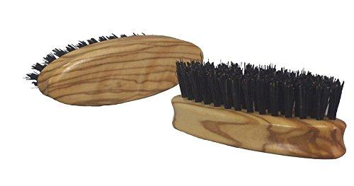 Brosse à barbe en bois d'olivier de haute qualité avec des poils de sanglier pur, idéale pour les hommes pour l'entretien naturel de la barbe noble, dimensions env. 83 x 27 mm, Made in Germany