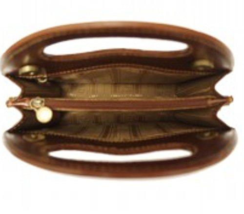 SUPERFLYBAGS Damentasche Modell Parma Handkoffer Echtes Kalbsleder Handtamponiert glänzend - pflanzlich gegerbt Braun