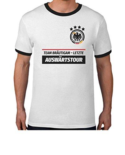 JGA Team Bräutigam Letzte Auswärtstour WUNSCHDATUM auf Rückseite Kombi T-Shirt Large Weiß/Schwarz