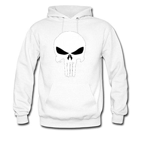 HGLee Printed Personalized Custom cute skull Women's Hoodie Hooded Sweatshirt white