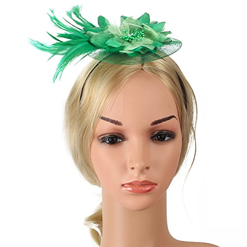 Beelittle Fascinator Haarspange Hut Feder Cocktail Tea Party Hüte Braut Kentucky Derby Stirnband Clip für Mädchen und - Der Mutter Hüte Braut