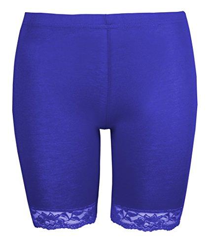Damen Radhose Damen Lace Trim Cycle Shorts by Love Lola® Stretch Super Soft Königsblau