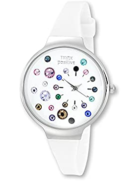 THINK positive Damen-Uhr Stardust Analog Fashion Silikon-Armband weiß Quarz-Uhr UTP1053W