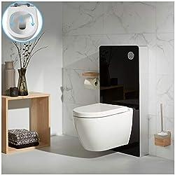 PlaneteBain Pack WC Suspendu avec bati Support en Verre Noir et Cuvette sans Bride en céramique