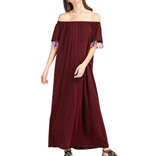 eca8036a2d6ed Amlaiworld damen baumwoll bunt Quaste Lange kleider elegant locker  Trägerlos Kleid mode kleidung Für Party und