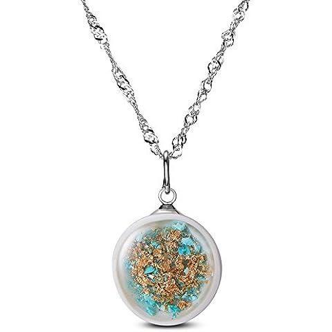 SWEETIEE collar de plata de ley de Mujer con colgante redondo (Porcelana con Golden Verde con Flores secas Platinum 450mm
