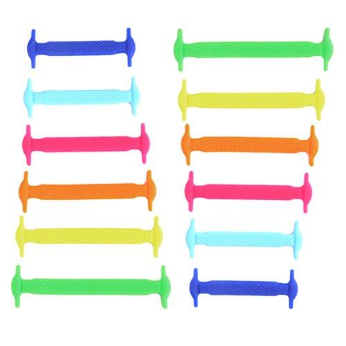 Sharplace Elastische Silikon Schnürsenkel flach Schuhbänder in verschiedenen Farben für Kinder & Erwachsene - Mehrfarbig