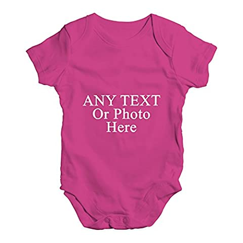 Twisted Envy Baby Unisex Personalised Design Your Own Wording Photo Cute Infant Bodysuit Baby Grow Baby Romper 6 - 12 Months Cerise