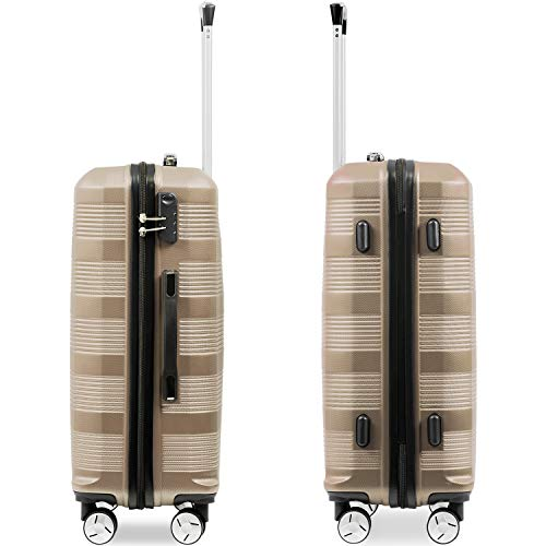 Flieks Reisekoffer Kofferset Hartschale 4 Zwillingsrollen Trolleys Gepäck Koffer 3tlg. (Champagner, L) - 4