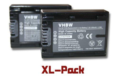 2 x vhbw Set de baterías 600mAh para videocámara Sony DCR-DVD850E, HDR-CX520E, HDR-CX110E, DCR-SR37E, HDR-CX520VE, HDR-CX115E, DCR-SR38E