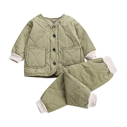 Livoral Girl warme dicken Mantel Jacke Neugeborene Baby Boy Outwear Hosen Outfits Set(B-Grün,3-6 Monate)