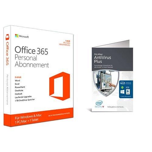 Microsoft Office 365 Personal - 1 PC/MAC - 1 Jahresabonnement + McAfee AntiVirus Plus 2016 unlimited - für eine unbegrenzte Anzahl an Geräten