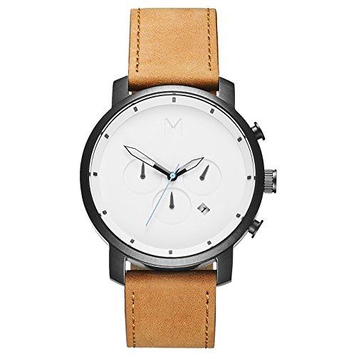 MVMT Herren-Chronograph White Black/Tan Leather