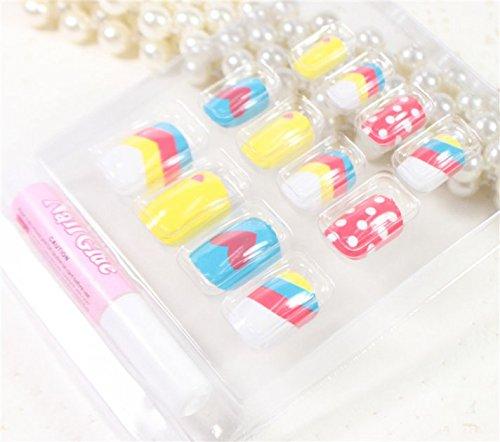 GRASHINE Salon Qualitäts-Nagel-heißer Verkauf Produkt-Nagel-Kunst 12pcs bunte rot, gelb und blau gefälschte Fingernägel falsche Nägel