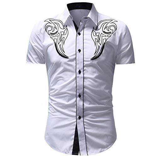 CICIYONER Herren weißes Hemd Slim Fit Kurzarm | Schwarzes Männer Stretch Kurzarmhemd Freizeithemd | Jungen Kurzarmshirt Sommerhemd Business T-Shirt Freizeit Party
