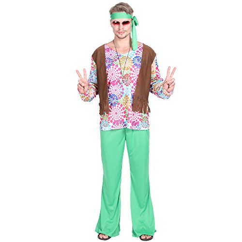 EraSpooky Herren 60er Jahre Groovy Hippie Kostüm, Shirt, Hosen, Stirnband (Halloween-kostüm Hippie)