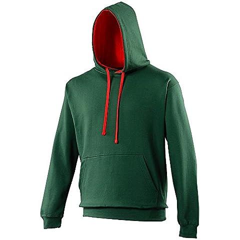 Awdis - Sweatshirt à capuche - Homme (2XL) (Vert bouteille/Rouge feu)